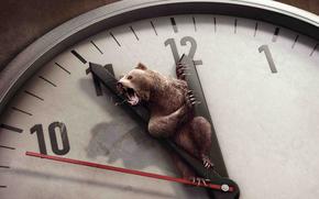 часы,  стрелки,  циферблат,  время,  медведь,  пасть,  когти,  кровь,  клыки