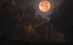castle, bridge, night, lights, moon, graphics