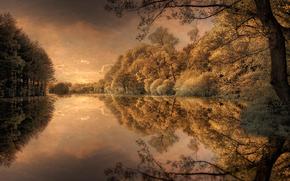 natura, Photoshop, elaborazione, immagine, fiume, autunno
