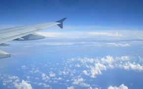 небо, облака, крыло, самолет