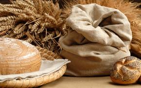 хлеб,  булка,  булочка,  с маком,  мешок,  колосья,  пшеница,  блюдо,  еда