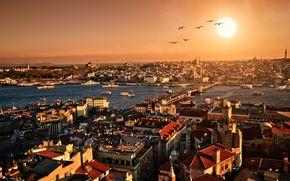 Istanbul, tramonto, sera, panorama, citt, edificio, architettura