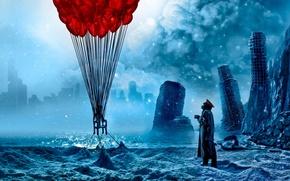 капитан,  кружка,  романтика апокалипсиса,  воздушные,  шары,  руины,  город,  арт,  комикс,  фантастика