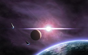planet, satellite, Star, radiance, flash