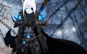 pointy ears, chain, blue eyes, eye patch, cloak, armor, short hair, elf, white hair, girl