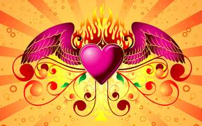 день святого валентина,  сердце,  огонь,  любовь,  крылья,  фон