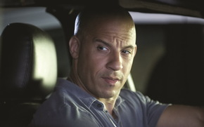 Vin Diesel, Mark Sinclair Vincent, actor, screenwriter, director, producer, man, muzhik, bald, face, view