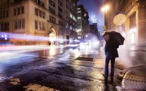 stato d'animo, strada, solitudine, grattacielo, uomo, ombrello, pioggia, semaforo, New York, strada, carta da parati, Stati Uniti d'America, America