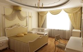 interno, camera da letto, situazione