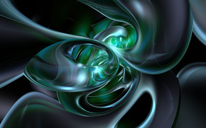 waves, blue, green, abstract