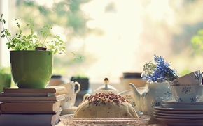 Morning, table, dishes, cup, service, Books, Flowers, cake, breakfast, light, mood