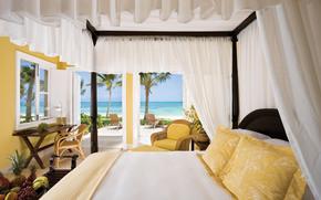 apartment, bedroom, room, heat, landscape, sea, ocean, sunbed, fruit, bananas, grapes, pineapple, chair, palm, interior, wallpaper