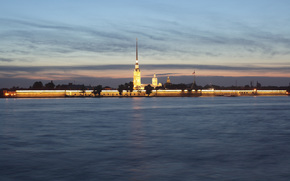 Peter and Paul Fortress, St. Petersburg, Peter, Neva, river, city, North, capital, Russia, View from the Palace Embankment, evening, wallpaper