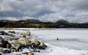 Winter, in the mountains, frozen lake