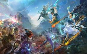 China, battle, music, girl, beauty, minstrel, Warriors, Swords, armor, fire, nephritis, sky, Mountains