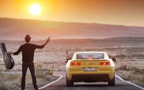 tipo, sole, chitarra, Chevrolet, Camaro, natura, montagna, paesaggio, Photoshop, carta da parati