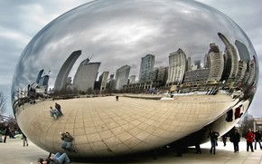 mirror, people, city, Tourists, reflection, Chicago