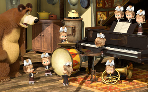 Cartoon, Masha and the Bear, orchestra, piano, pipe, drum