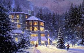hiver, vacances, image, peinture, htel, skieur, sapin, fort, Spruce, personnes, Nol