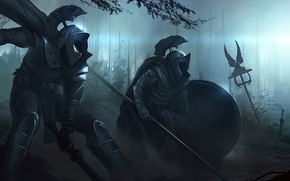 War, dark, armor, spears, Swords, weapon, tools, forest, night, Art