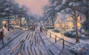 картина,  живопись,  городок,  рождество,  снег,  домики,  коттеджи,  огни,  люди,  зонты,  дорога,  машины,  собака,  долматинец,  зима