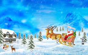 picture, snow, drifts, Mountains, Trees, Gifts, team, snowman, Deer, home, mail, box