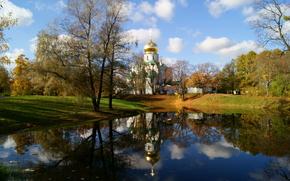 day, sky, clouds, lake, October, autumn, pushkin, Saint Petersburg ..., church