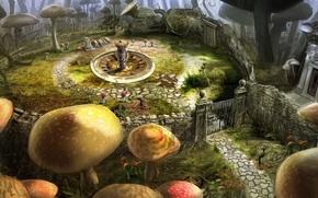 Alice in Wonderland, Tim Burton, Flowers, gate, mushrooms