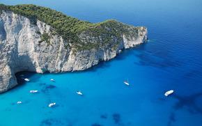 греция,  остров,  пейзаж,  гора,  яхты,  парусники,  природа,  море,  панорама,  закинф,  обои