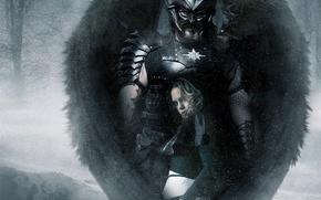 девушка, демон, воин, крылья