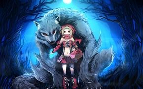арт,  девочка,  волк,  красная шапочка,  корзинка,  корзина,  лес,  ночь,  луна