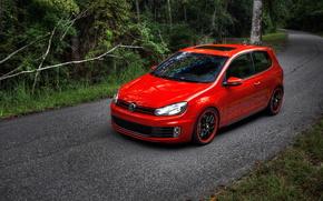 Volkswagen, rosso, strada, foresta, auto, macchinario, Auto