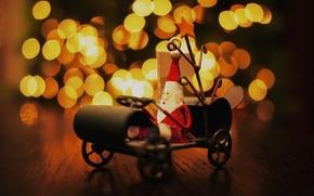 holiday, New Year, mood, table, toy, souvenir, Santa Claus, sledge, lights
