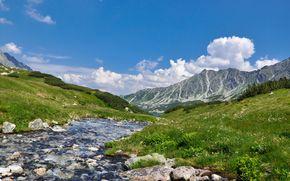 Mountains, river, landscape, nature