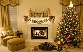 camera, interno, Natale, situazione, decorazione, abete, regali, decorazione, ghirlanda, semaforo, Natale, Giocattoli, angelo, Candele, stile, camino, tendaggio, cieco, sedia, tavolo, Vetro