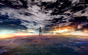 cielo, ragazza, Petali, nuvole