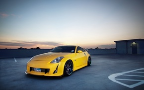 Nissan,  Ниссан,  Небо,  Жёлтый,  Синий,  350 Z, автомобили, машины, авто