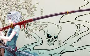 girl, Katana, sakura, skull