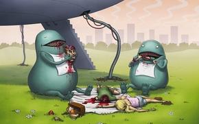 alieni, Ufo, Mostri, persone, cadaveri, cibo, picnic, disegno