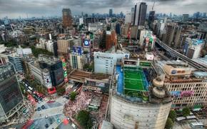 东京, 日本, 特大城市, 家, 屋顶, 足球, 领域, 道路, 人群, 人