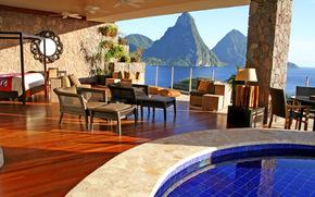 interno, design, bello, vista, specchio, mobilia, situazione, piscina, Blu, acqua, Montagne, mare, profumatamente, favolosamente, sogno, ricorrere