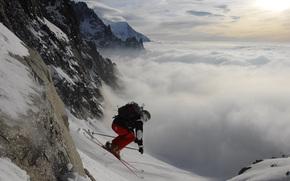 skieur, montagne, descente, ciel, nuages, neige, Ski, Sport, papier peint