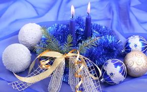 Natale, composizione, Candele, Palle, tinsel, nastro, arco, ramo, abete, blu, argento, tinsel