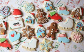 cookies, New Year, figures, marzipan, little man, lodge, letter, cap, machine, skates, snowflake, cookies, glaze, holiday