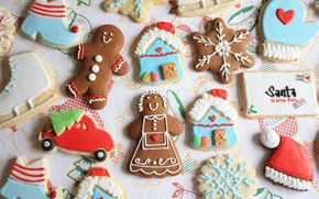 cookies, New Year, figures, marzipan, little man, lodge, letter, cap, machine, Tree, snowflake, cookies, holiday