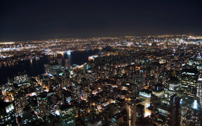Lights, New York, night