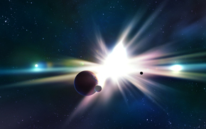 Star, planet, flash, satellites, radiance