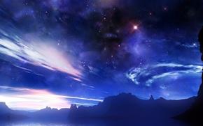 space, sky, Star, lights, clouds, radiance, fog
