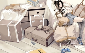 Arte, nia, Casos, Bolsas, sentado, zapatos, Medias, equipaje, Botas, Libros, jarra