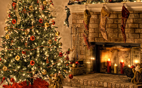 inscription, colorful wallpaper, Christmas Tree, lights, angel, Santa Claus, Santa, fireplace, Candles, Jewelry